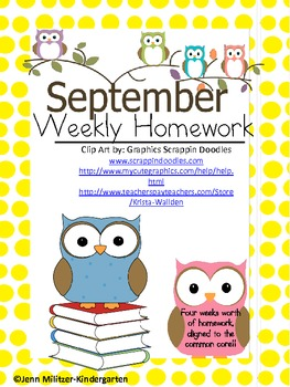September Weekly Homework Common Core