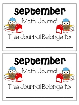 September Weekly Math Journals CCSS
