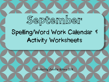 September Word Work Activities