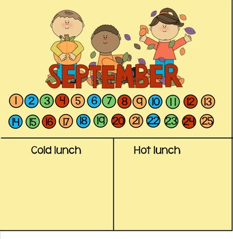 September lunch count and attendance Fall colors