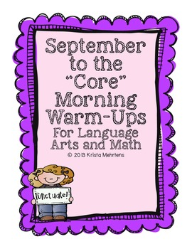 """September to the """"Core' Morning Warm-ups - Language Arts a"""