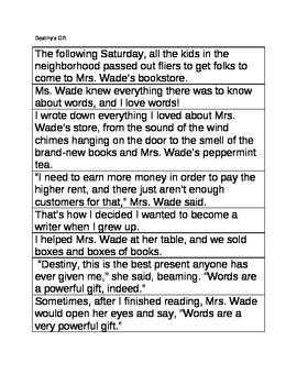 Destiny's Gift 8 Sequencing Sentences