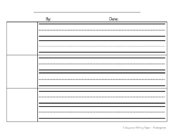 Sequence Writing Paper for Kindergarten