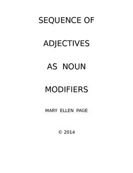 Sequence of Adjectives as Noun Modifiers