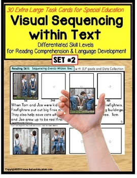 Sequencing Events with Pictures & Text Task Cards Autism/S