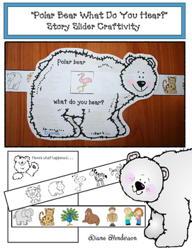 """Sequencing """"Polar Bear What Do You See?"""" Story Slider Craftivity"""