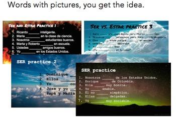 Ser, Estar & Ser vs. Estar starter/warm-up/bellwork slides