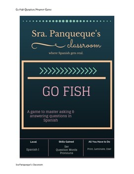 Ser and Pronoun Question Game: Go Fish