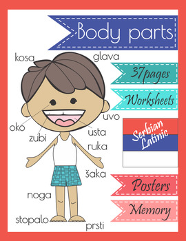 Serbian Body Parts Worksheets Poster Memory Game