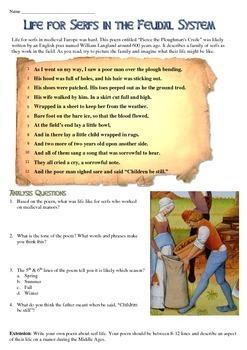 Serfs and Feudalism Primary Source Poem Analysis Worksheet