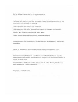 Serial Killer Powerpoint Presentation