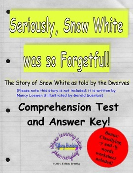 Seriously Snow White was So Forgetful Comprehension Test &