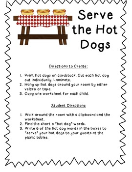 Serve the Hot Dogs - Short o word search
