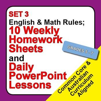 Set 3, English & Math Rules; Weekly Homework Sheets & Powe