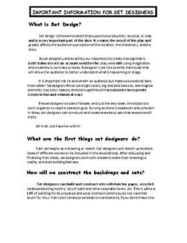 Set Design: What Do Set Designers Do? Handout