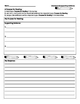 Set a Purpose for Reading - Text Evidence Graphic Organizer