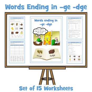 Set of 15 Differentiated Worksheets - Words Ending in dge / ge
