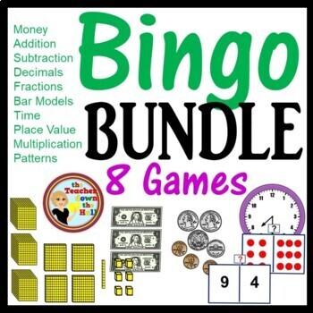 Math Bingo Games (Decimals, Fractions, Money, Time) Each w