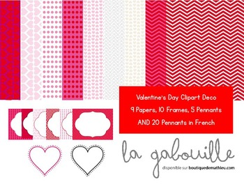 Set of 50 clipart for Valentine's Day (frames , background