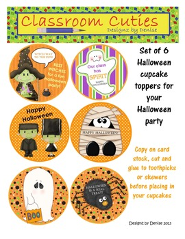 Set of 6 Halloween Cupcake Toppers
