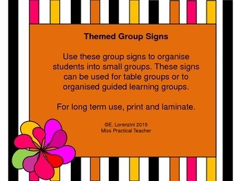 Set of 6 Themed Group Signs with Pictures