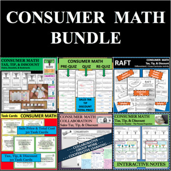 Set of 60 Consumer Math Sales Tax Discount Tip Total Cost