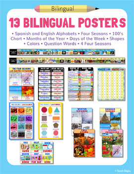 Set of 8 Bilingual Posters for the Classroom – English and