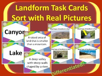 Set of Landforms Task Cards Sort for 3+ Lessons with REAL