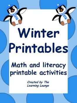 Winter Printables - 1st Grade Language Arts and Math