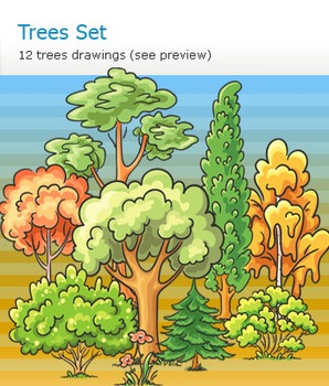 Set of cartoon hand-drawn trees and some other plants