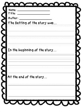 Setting, Beginning, and End of Story Graphic Organizer
