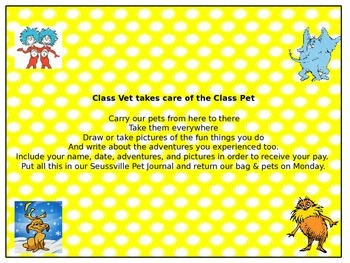 Seuss inspired: Taking Care of the Class Pet