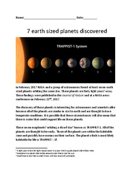 Seven New Planets Discovered - NASA - lesson facts informa