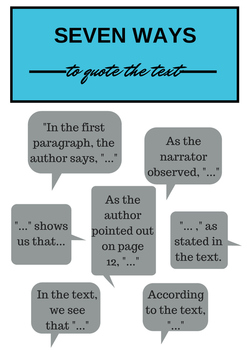 Seven Ways to Quote the Text: FREE printable!