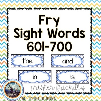 Seventh 100 Fry Word Rings/Word Wall Words/Flash Cards (601-700)