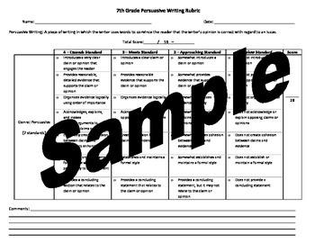Seventh Grade Common Core Persuasive Writing Rubric