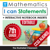 Common Core Standards I Can Statements for 7th Grade - Math