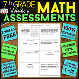 7th Grade Math Assessments or Quizzes FREE