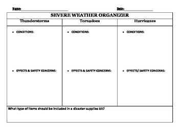 Severe Weather Graphic Organizer