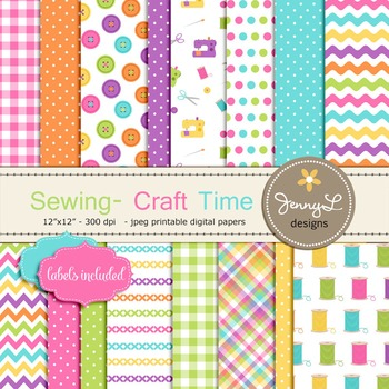 Sewing Digital Papers, Craft, Buttons, Sewing Machine