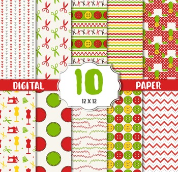 Sewing Digital Papers, Sewing Backgrounds, Paper Backgroun