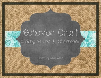 Shabby Burlap & Chalkboard Behavior Chart