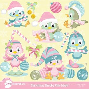 Shabby Chic Christmas Birds Clipart AMB-568