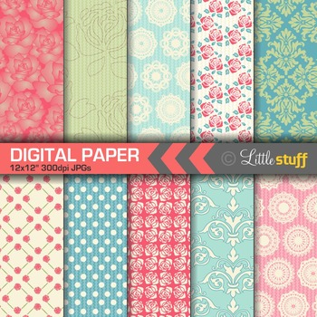 Shabby Chic Digital Paper Backgrounds