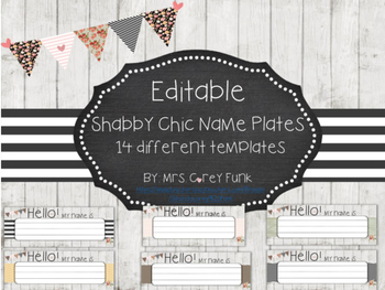 Shabby Chic Name Plates  Editable
