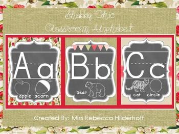 Shabby Chic Red Floral Burlap Classroom Alphabet Set