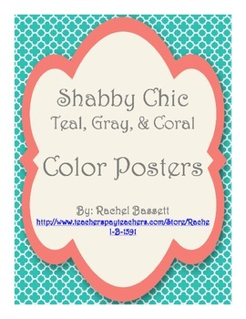 Shabby Chic (Teal, Gray & Coral) Color Name Posters