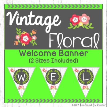 Vintage Floral Welcome Banner {Shabby Chic Design}