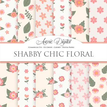 Shabby Chic flowers Digital Paper floral printable pattern
