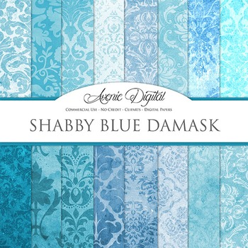 Shabby Damask Digital Paper turquoise blue patterns scrapb
